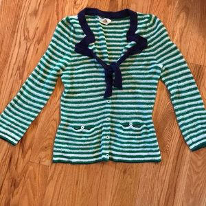 HWR Anthropologie m sweater cardigan green stripes